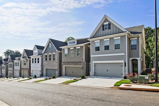 outdoor exterior of front of townhomes