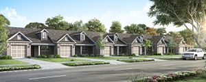 Exterior of three townhomes